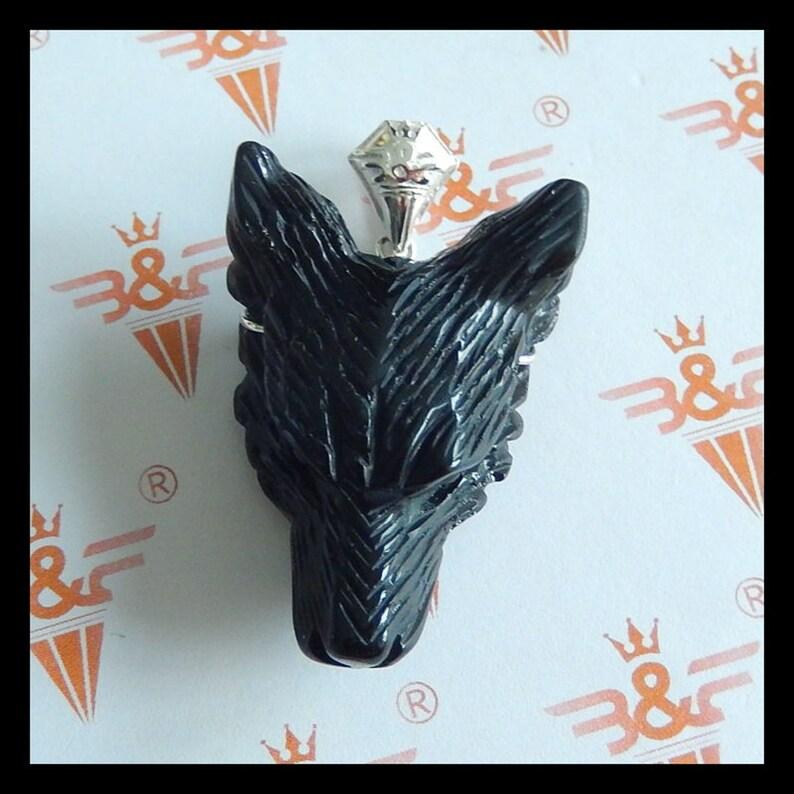 W742 Handmade Carved obsidian  with 925 Sliver Wolf Head Gemstone Pendant Bead 48x34x18mm,28.1g
