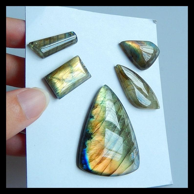 43x31x6mm,23x8x5mm,23.2g 5 PCS Labradorite Gemstone Cabochons,Jewelry SET Handcrafted Supplies Cb852