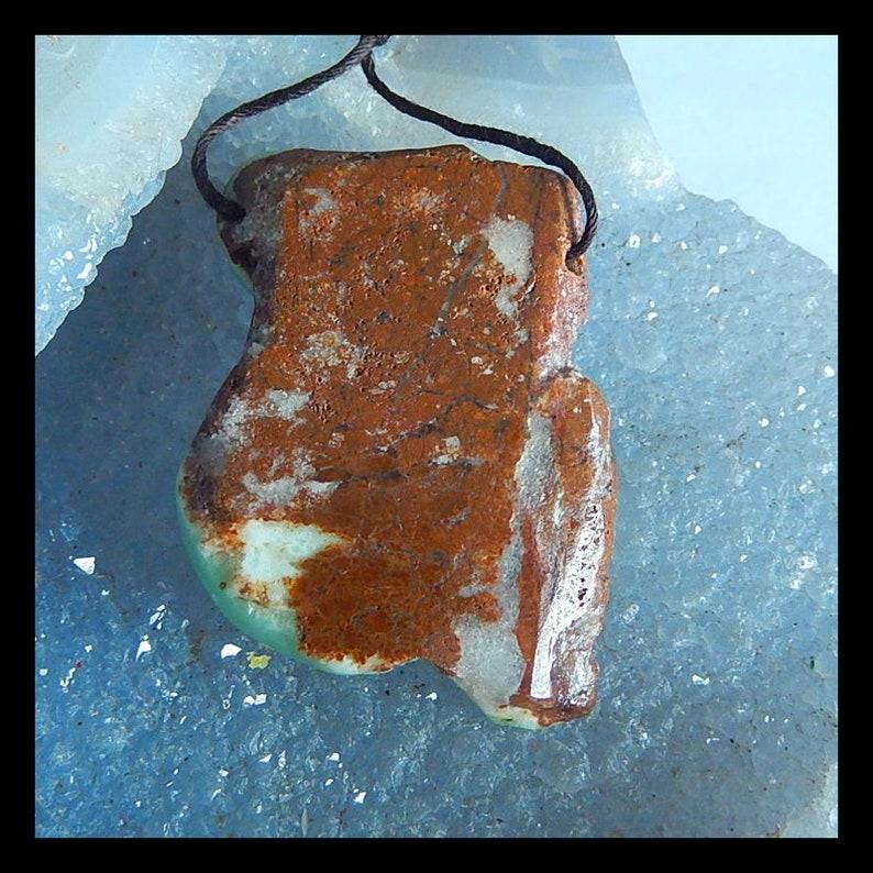 Handmade Carved Chrysoprase Gemstone Pendant 42x31x14mm,16.5g Cp1636