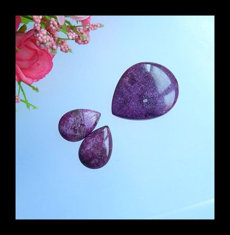 3 PCS African Purple Stone Fashion Women Cabochons,31x25x5mm,18x13x5mm,7.6g-Cb499