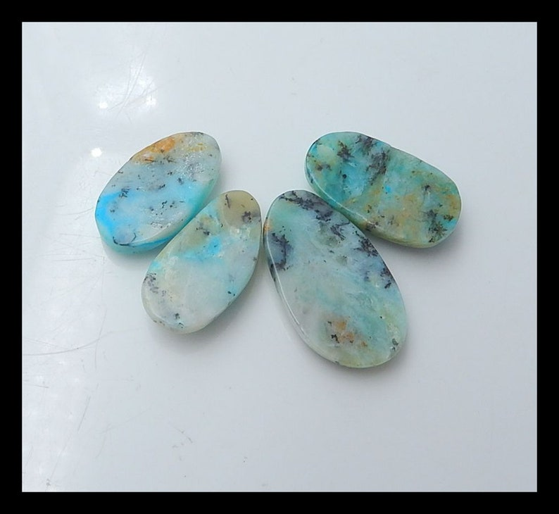 Cb781 New,4 PCS Blue Opal Gemstone Cabochons 30.3g
