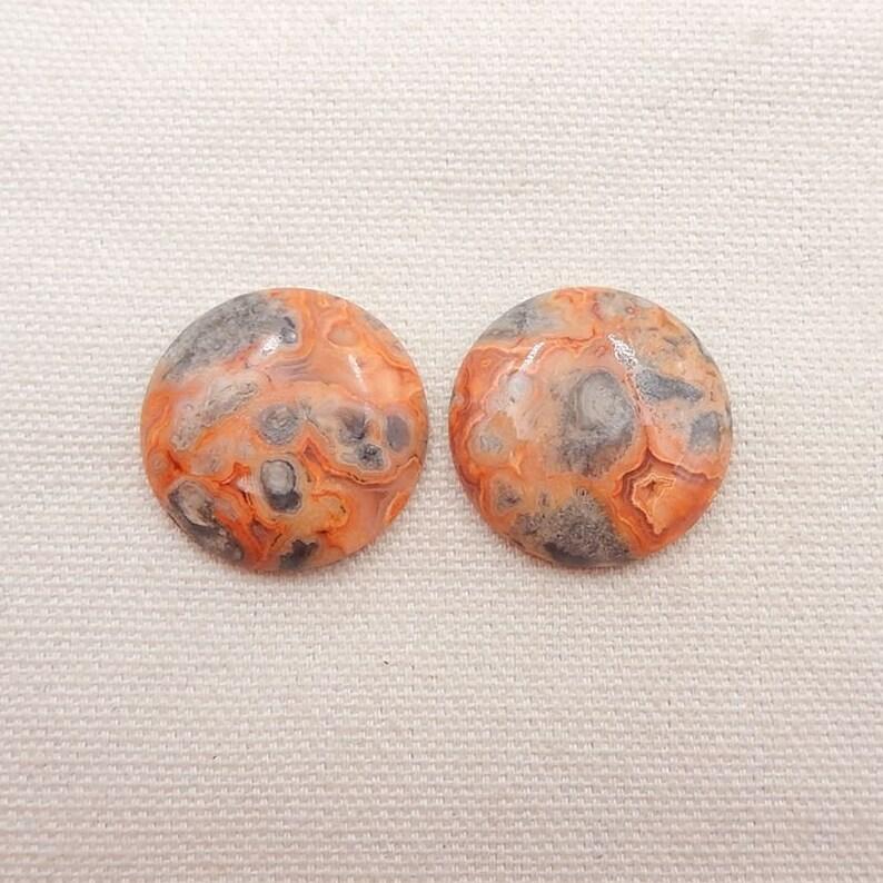 2 PCS Crazy Lace Rosetta Stone Gemstone Cabochons,26x5mm,11g Y5628