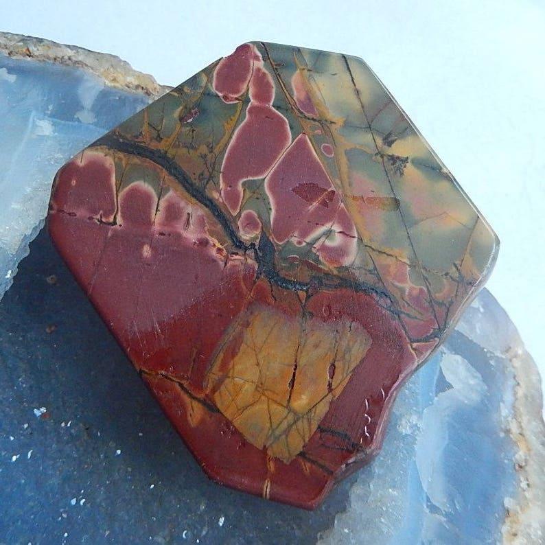 New,Carved Multi-color Picasso Jasper  Pendant Bead,63x56x11mm,77.0g\uff08Cp041\uff09