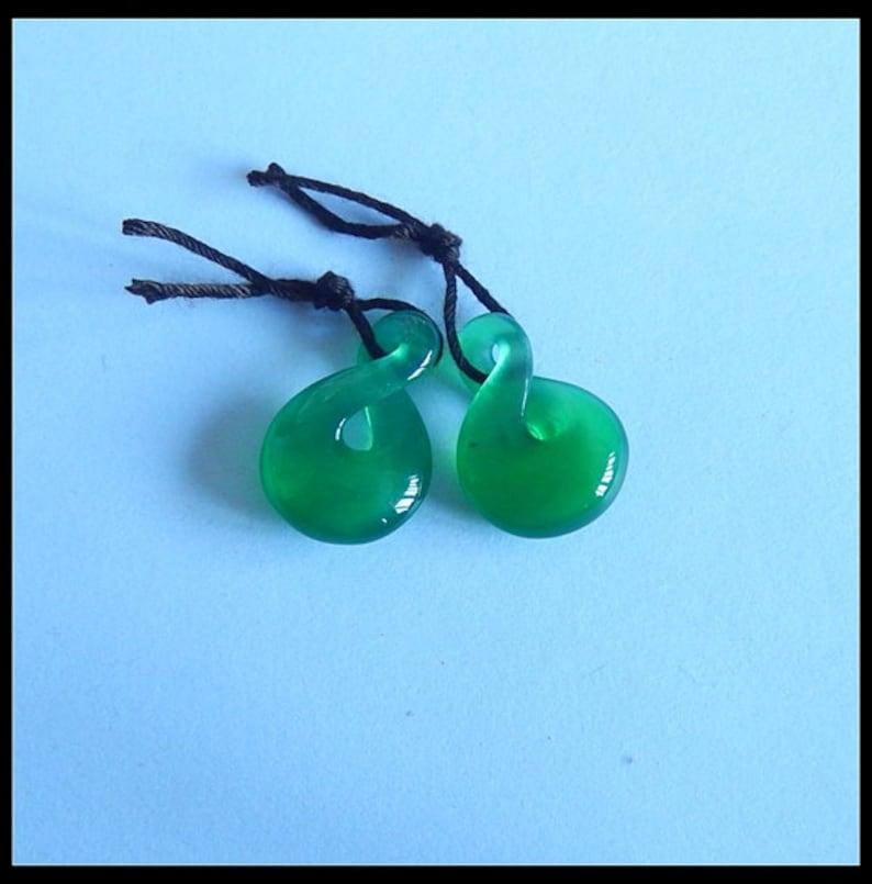 New,Fashion Green Agate fashion woman earring beads Pair,19x13x5mm,2.7g T2971
