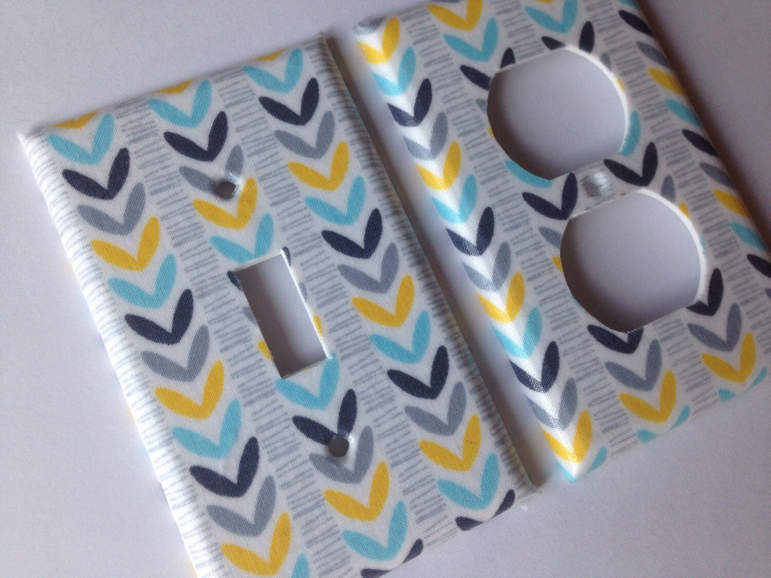 Light Switch Cover Yellow Aqua Gray Single Light Switchplate Etsy