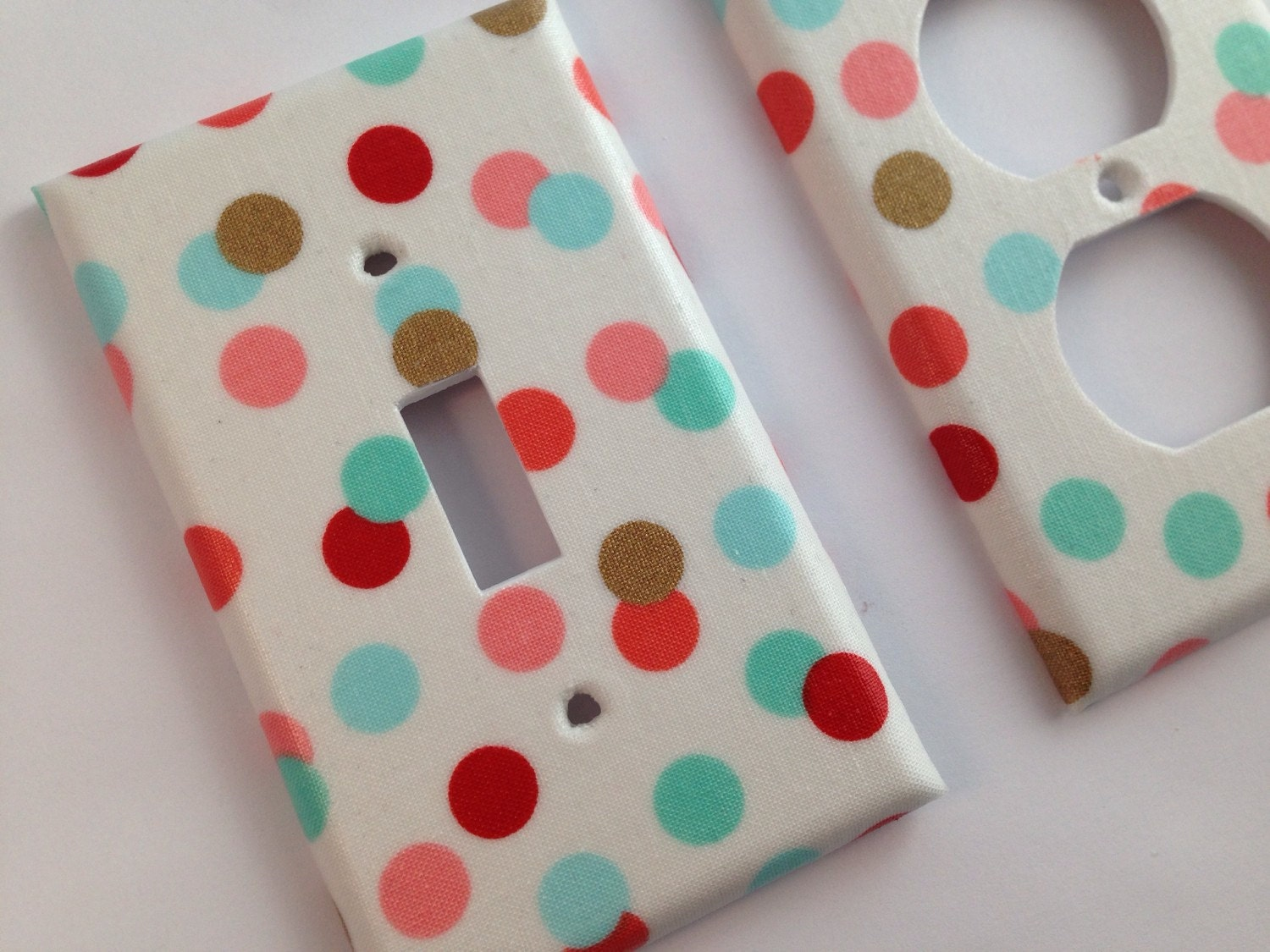 Mint Coral Gold Decor Light Switch Cover Mint Polka Dots Etsy