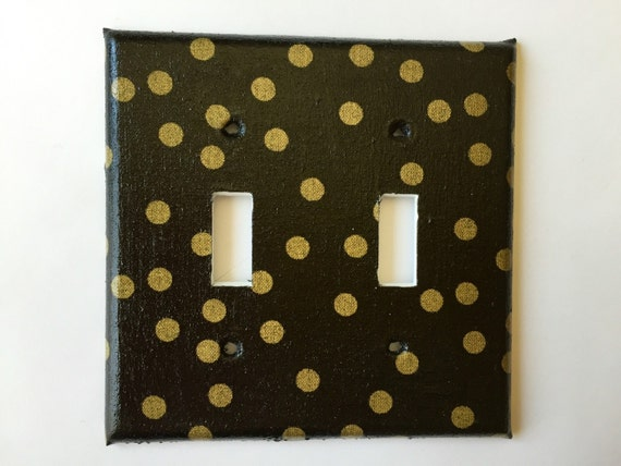 Gold Black Polka Dots Single Light Switch Plate Cover Outlets / Gold Home  Decor / Black Gold Bedroom Decor / Gold Nursery Decor / Gold Decor