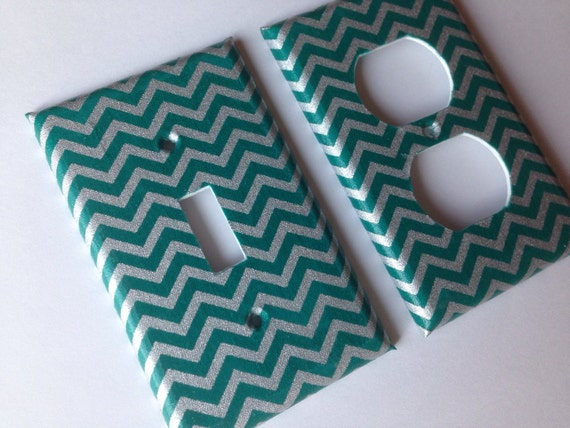 Teal Silver Chevron Striped Single Light Switch Plate Cover Etsy