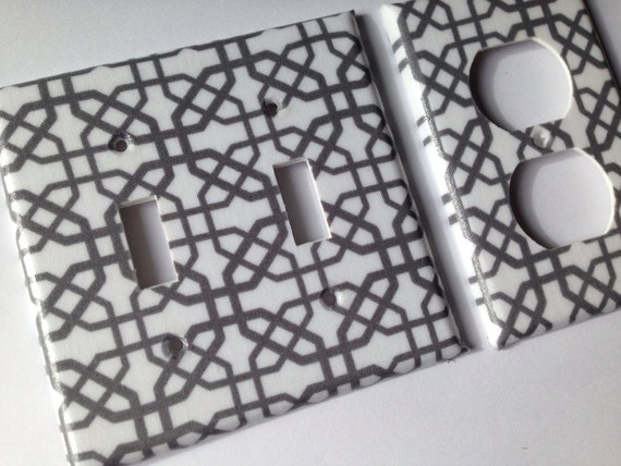 Gray And White Lattice Double Light Switch Plate And Outlet Etsy