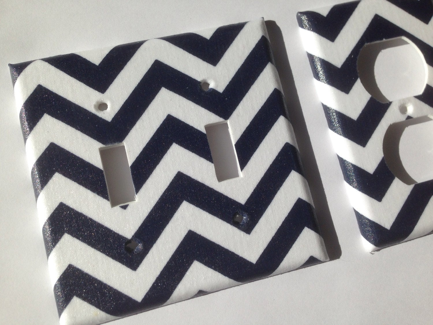 Navy Blue And White Nautical Chevron Striped Double Light Etsy