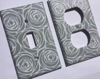 Gray Roses Single Light Switch Cover/ Grey Bedroom Decor / Rose Wall Art/  Floral Home Decor/ Gray Nursery Decor / Kitchen Decor/ Teen Room