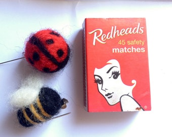 Bug brooches - Lady bird and Bee - needle-felted whimsy
