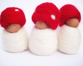 Tiny Toadstool Babies with Red Hat - waldorf inspired.