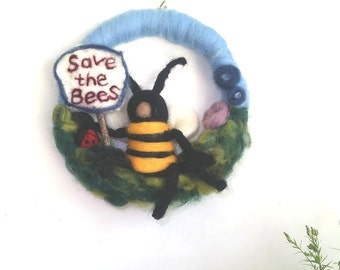 Save the Bees - Large Wreath/ Wall hanging - ladybird, bees X-large