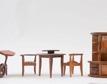 Dollhouse Dining Room Set, Vintage Wood Miniature Dining Room