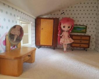 Vintage Mid Century Modern Dol Toi Brand Dollhouse Wooden Bedroom Furniture  Dresser Wardrobe Drawers 1 12 Scale Lundby