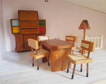 Vintage Mid Century Modern Dol Toi Brand Dollhouse Wooden Living Room  Furniture Bureau Shelf Writing Desk Table Chairs 1 12 Scale Lundby