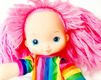 Vintage Rainbow Brite 1983 Tickled Pink Original outfit dress jumpsuit color kid colour friend eighties soft body toy 12 inch doll Pink hair