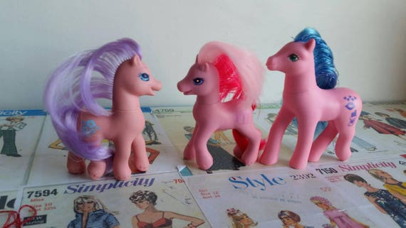 Vintage G1 G2 My Little Pony 90s pastel lot Sweet Kisses Princess Morning  Glory Cupcake 3 Pink TLC Ponies instant collection pink hair