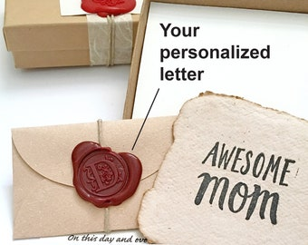Sentimental gift for mom, Meaningful sustainable gift for mother from daughter, son. Send a hug, Personalized letter & handmade paper card