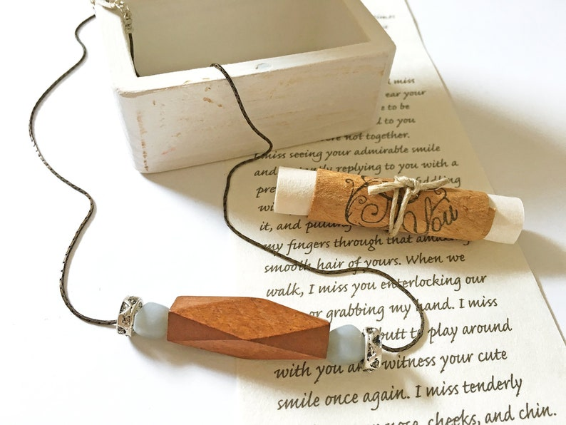 Original romantic meaningful gift set for wife on your 5th wedding  anniversary, wood  Minimalist necklace, your personalized love letter