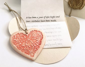 Send hug in the post, Sentimental gift for miles afar sister, mom, friend. Unforgettable personalized gift. Your letter & Ceramic heart