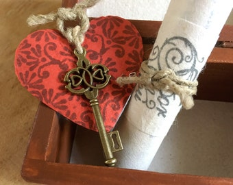 Personalized love letter & Key to my heart, Romantic gift for long distance girlfriend, boyfriend. Together at heart, International lovers