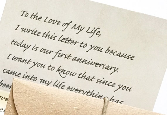 Letter to husband on 1st anniversary