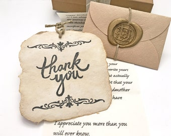 Sentimental old fashion gratitude gift for Dad/Mom/sister/brother. Personalized letter & sustainable Thank You card, Unforgettable gift