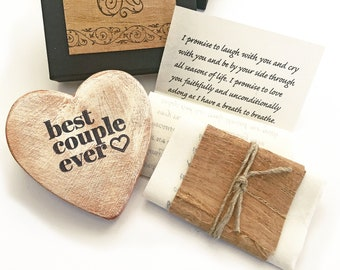 Sentimental Valentines day gift. Personalized love letter & Rustic heart ornament. Environmentally kind, Miles apart sustainable gift idea