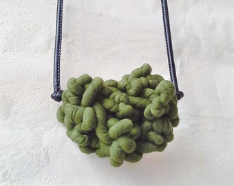 Super curly necklace with eco-leather cord