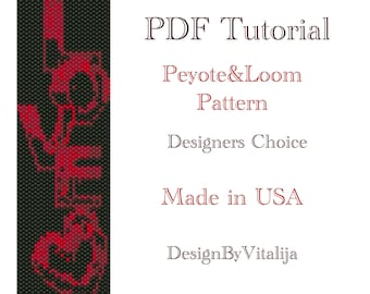 Instant Download Beading Pattern Peyote Stitch Loom Work Pattern Love Pattern Seed Bead Cuff