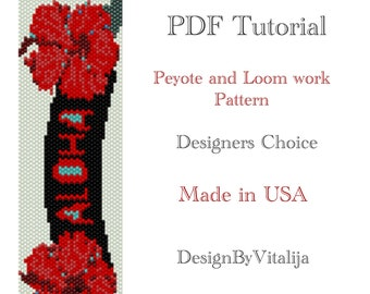 Instant Download Beading Pattern Peyote stitch Loom Work Pattern Aloha Pattern Seed Bead Cuff