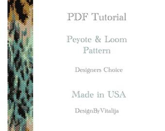 Peyote Beaded Tutorial Loom Work  Beaded Bracelet Animal Fur Pattern Bracelet Pattern Cuff Pattern PDF Tutorial Digital