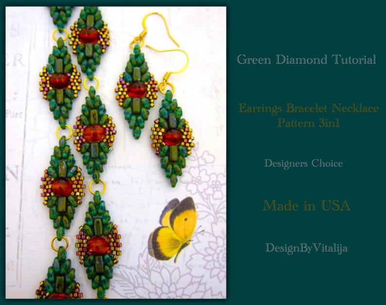 Earrings Bracelet Necklace Pattern Using Czech Beads Diamond Pattern One of The Kind Beading Tutorial