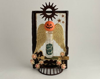 victorian halloween decoration.  pumpkin angel of the roses. mixed media assemblage sculpture. mantle decor. one of a kind and original art