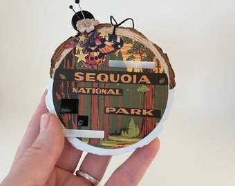 sequoia natioanal park assemblage ornament. mixed media christmas ornament. one of a kind and origial hanging art. california art.