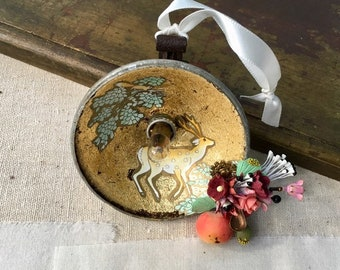 deer and squirrel assemblage. found object art. woodland. one of a kind original art.