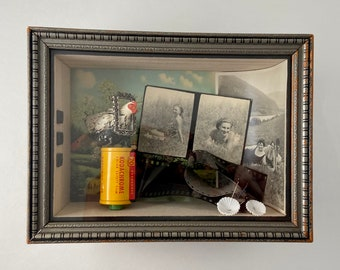 girls on film shadow box art. diorama with vintage photographs. vintage kodak. photographer one of kind and original. olden days nostalgia