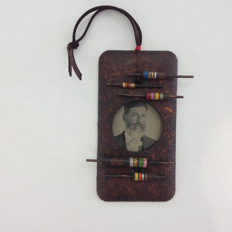 vintage tin type assemblage art ohm electric vibes one of a kind and original.