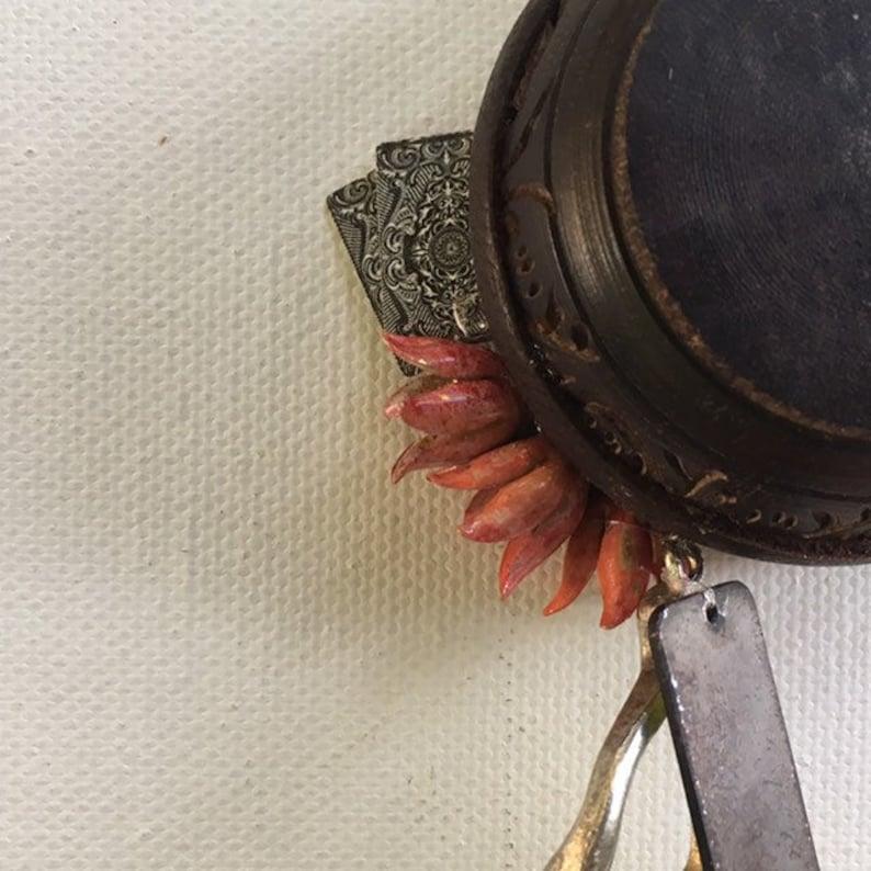 falkor one of a kind and original hanging art ornament. wishbone blackjack love dragon assemblage good luck