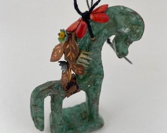 greek bronze horse ornament. trojan horse figurine assemblage art. upcycled and repurposed figurine. folk art christmas ornament.