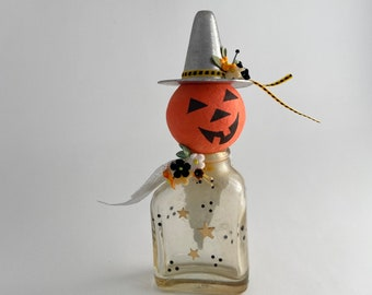 halloween angel. mixed media assemblage scupture. jack-o-lantern pumpkin witch.  one of a kind and original upcycled art.