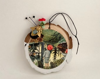 tomte folklore assemblage hanging art. mixed media christmas ornament. one of a kind and original folk art. whimsical woodland