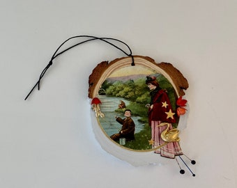 fishing on sunday. mixed media assemblage collage. wood round hanging art. one of a kInd and original. victorian vintage postcard