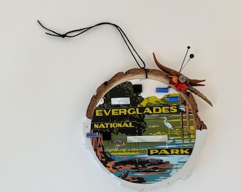 everglades national park assemblage art. mixed media ornament florida. one of a kind and original found object art. nostalgia vintage vibes