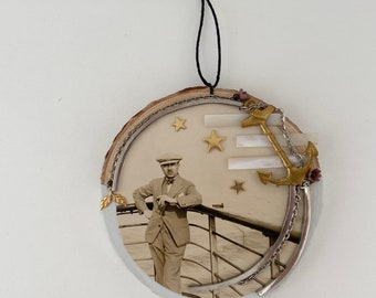 anchors aweigh  vintage photograph assemblage art. live edge wood round. one of a kind and original hanging art.