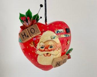 I love santa assemblage art. ho ho christmas ornament. found object folk art. mixed media hanging art
