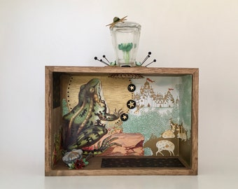 frog and castle shadow box. frog prince. found object diorama.  fantasy scene whimisical art. one of a kind and original.