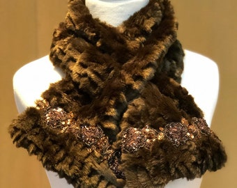 Textured scarf with sequined trim